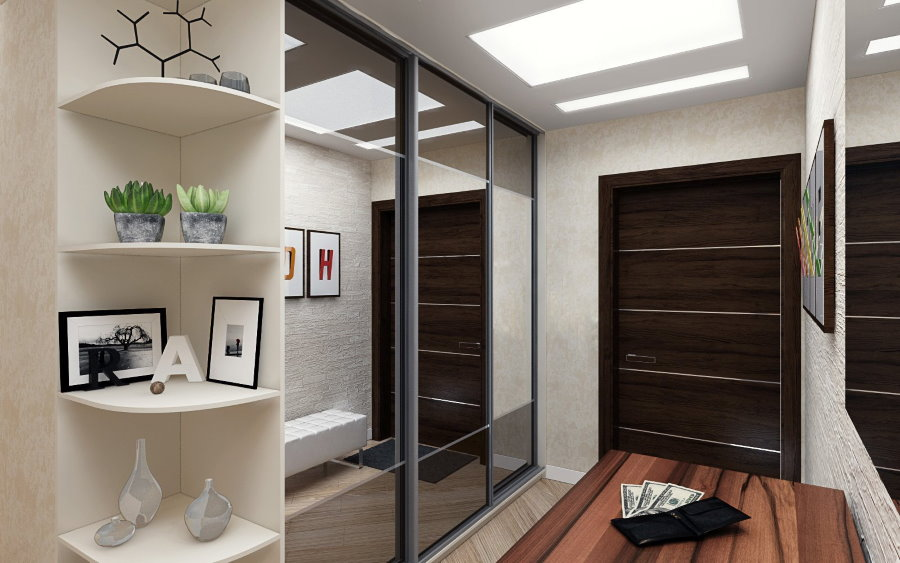 Зеркальная мебель в коридоре небольшого размера