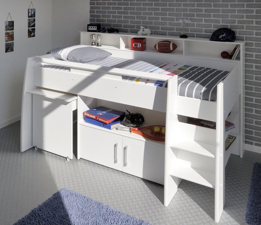 Белая кровать-чердак с выкатным столом