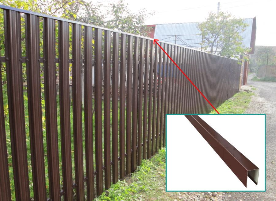 Забор из штакетника с планкой в верхней части