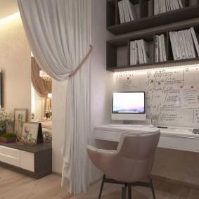 зонирование гостиной с компьютерным столом фото