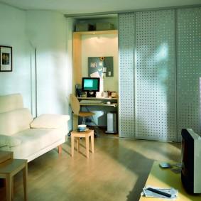 зонирование гостиной с компьютерным столом идеи