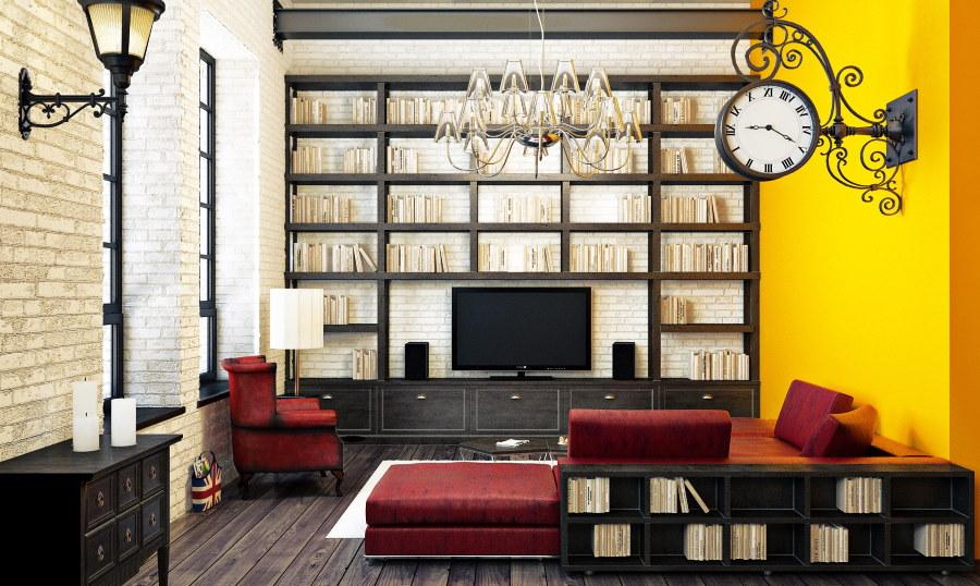 Желтая стена в комнате индустриального стиля