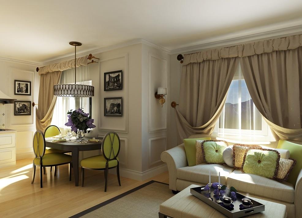 Зонирование столовой-гостиной в неоклассическом стиле