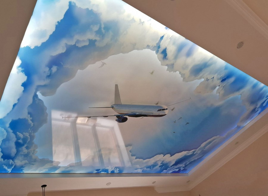 Объемная фотопечать на потолке спальни
