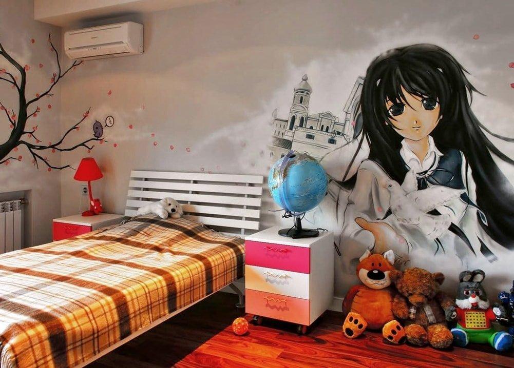 Аниме на стене детской спальни для девочки