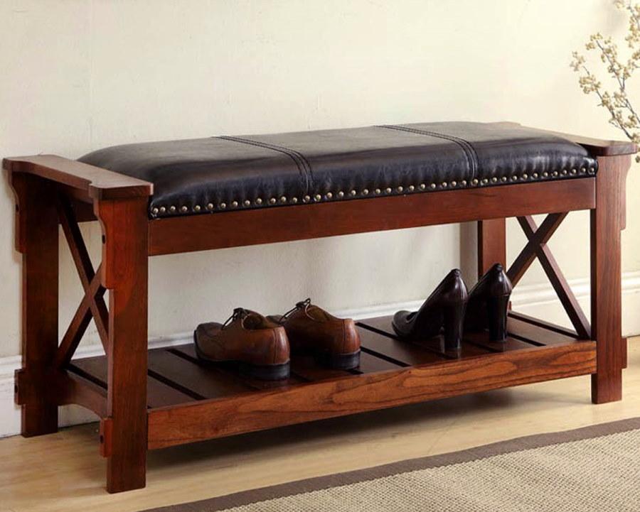 Деревянная банкетка с полочкой для обуви