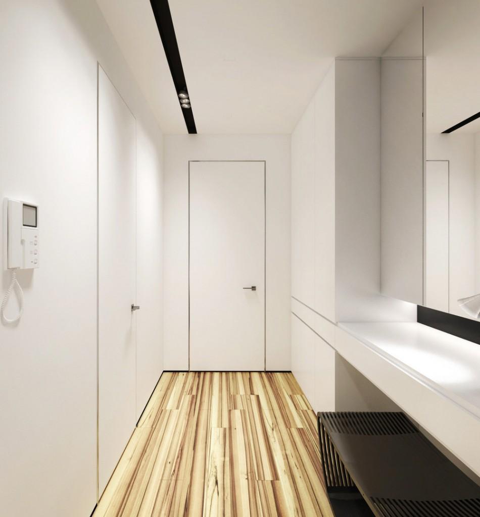 Белый коридор без лишней мебели