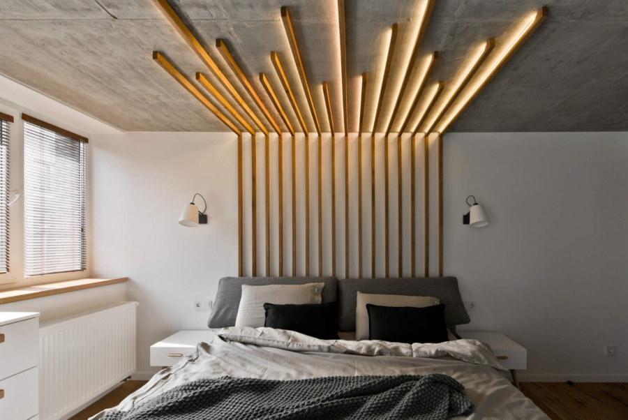 Бетонный потолок в спальне индустриального стиля