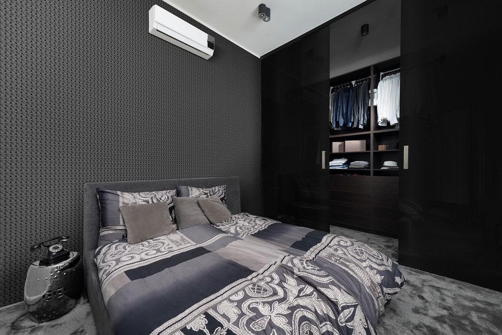чёрная спальня дизайн фото