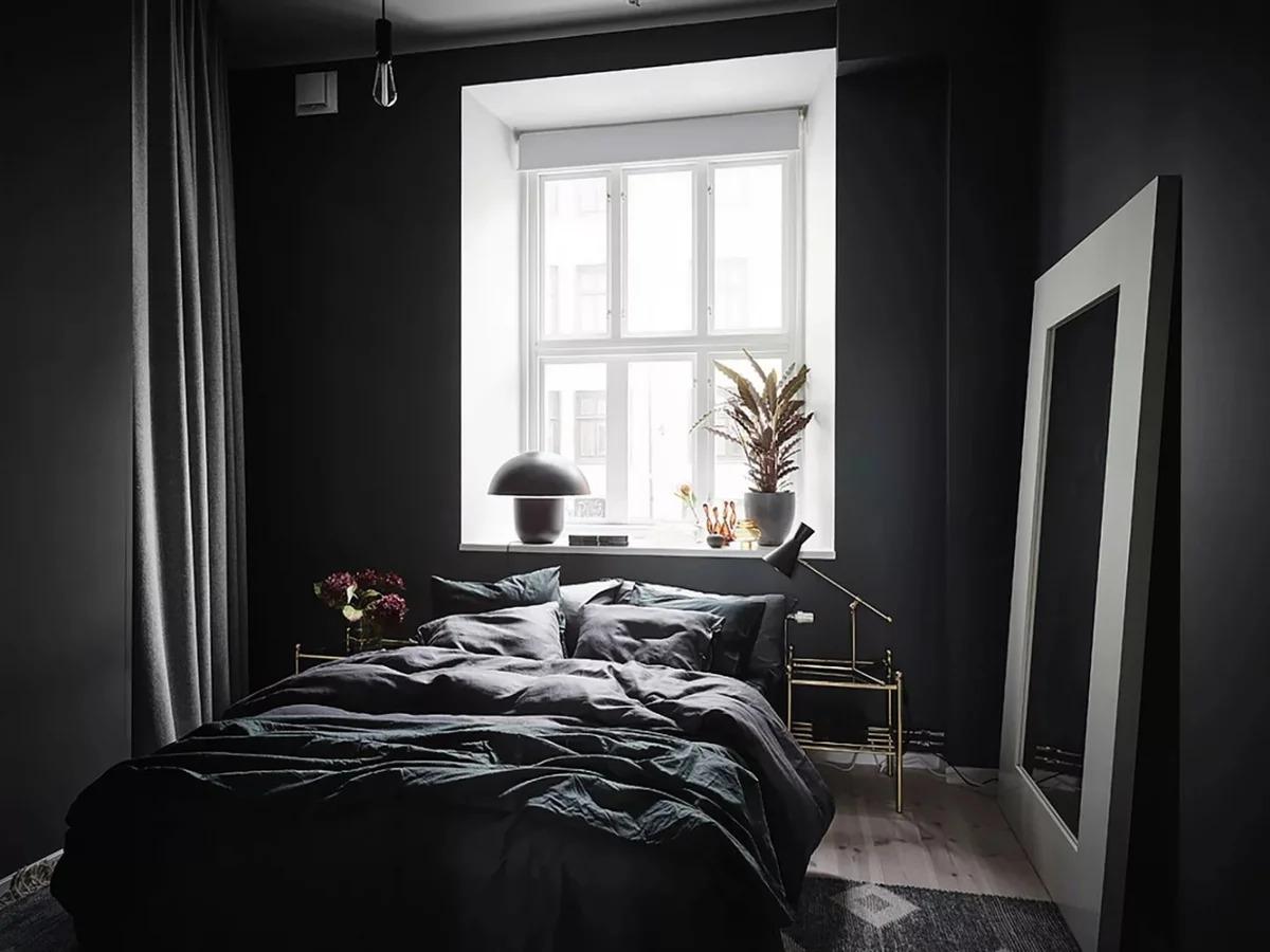 чёрная спальня фото дизайн