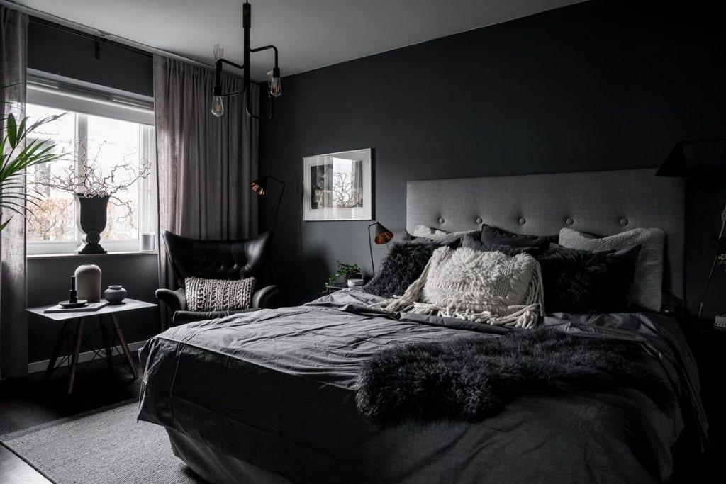 чёрная спальня фото
