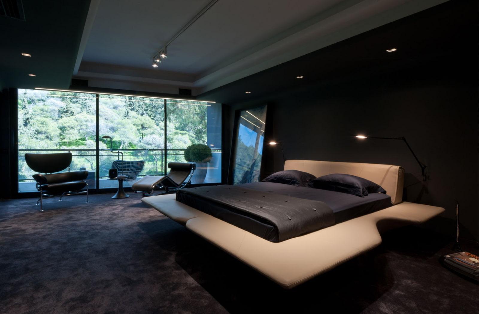 черная спальня хай тек
