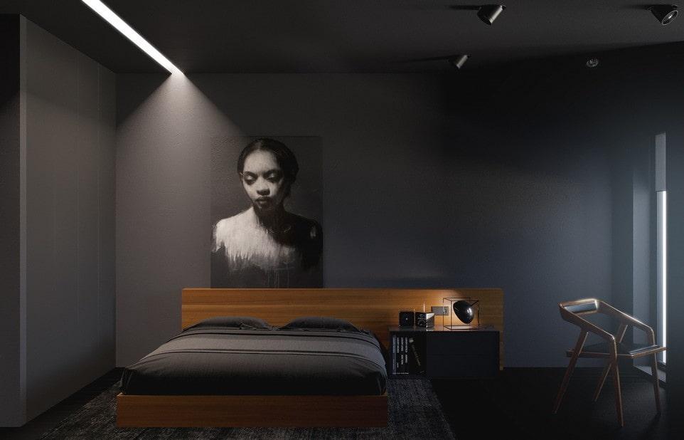 черная спальня минимализм