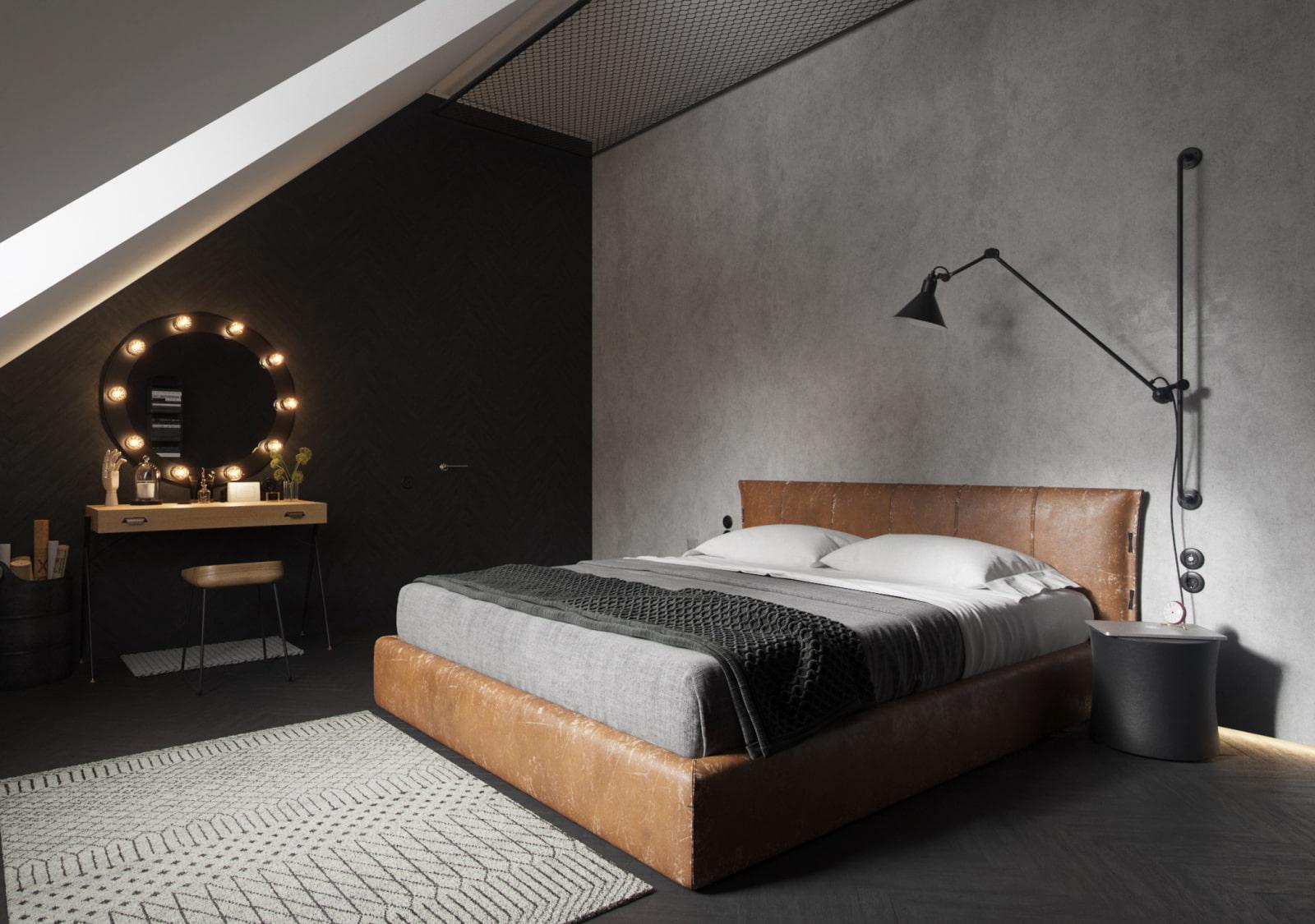 черная спальня оформление