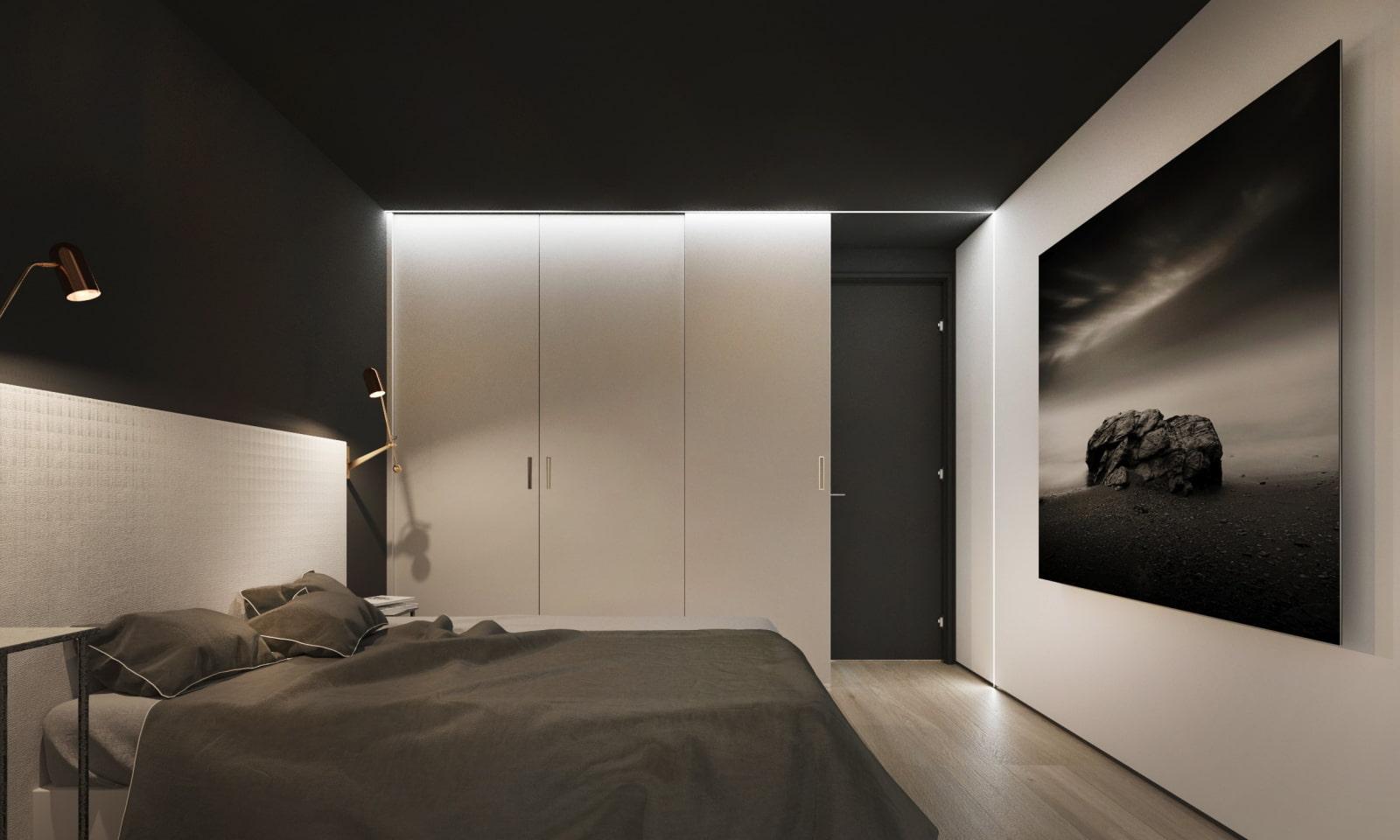 чёрная спальня с белым