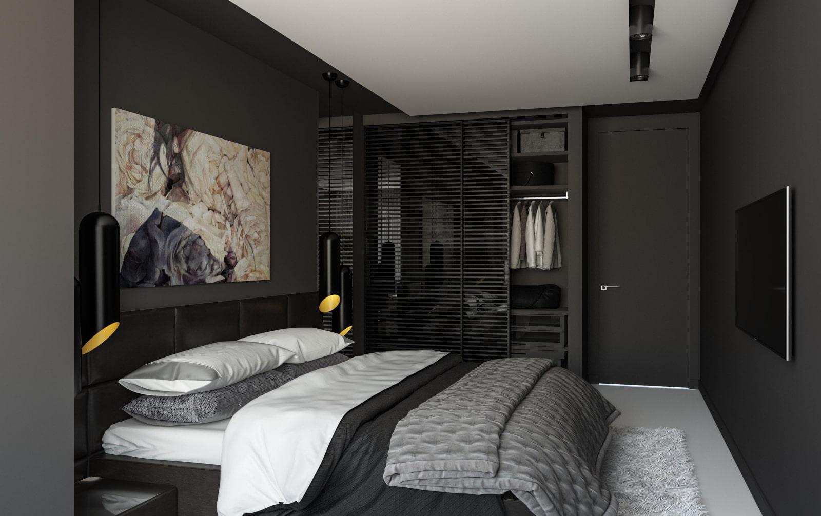 черная спальня современная