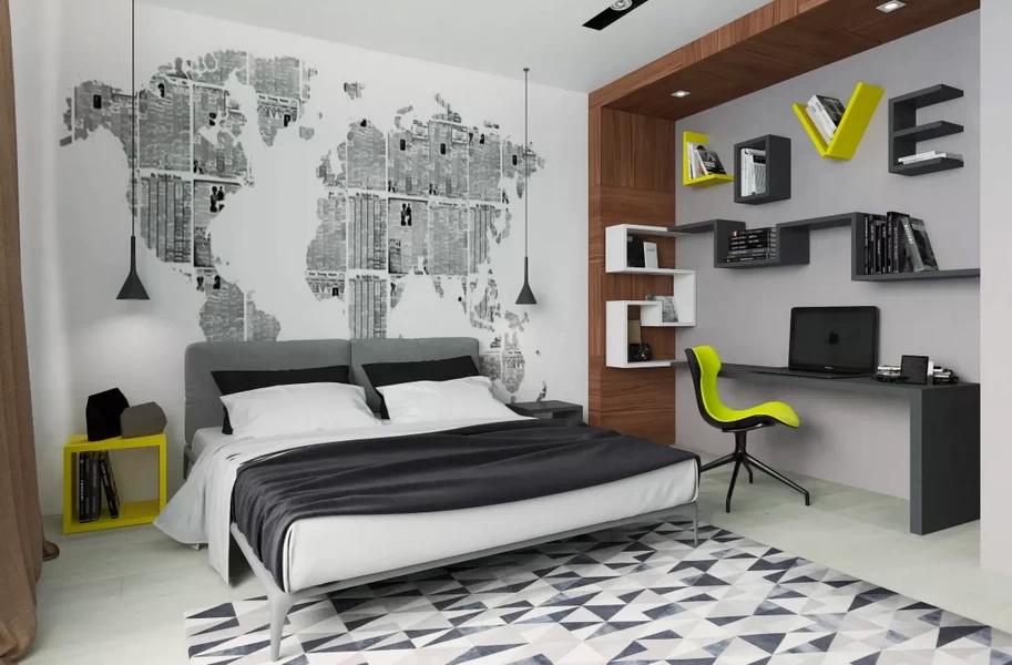 Черно-белая комната для подростка в стиле хай-тек