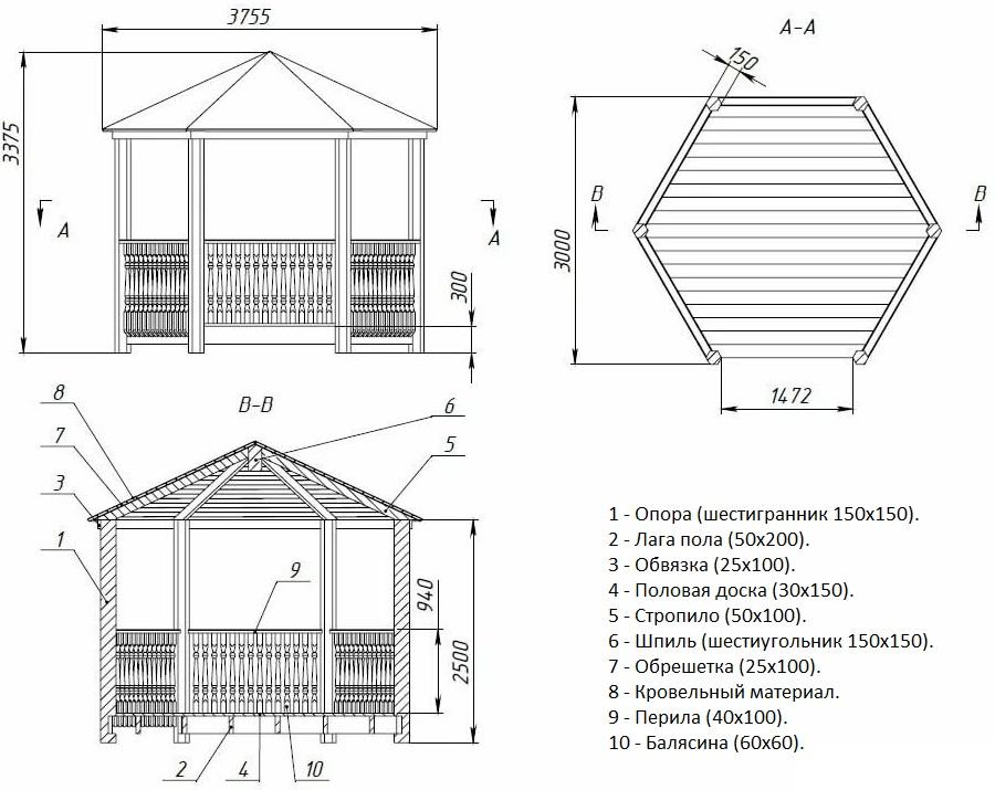 Чертеж шестиугольной деревянной беседки