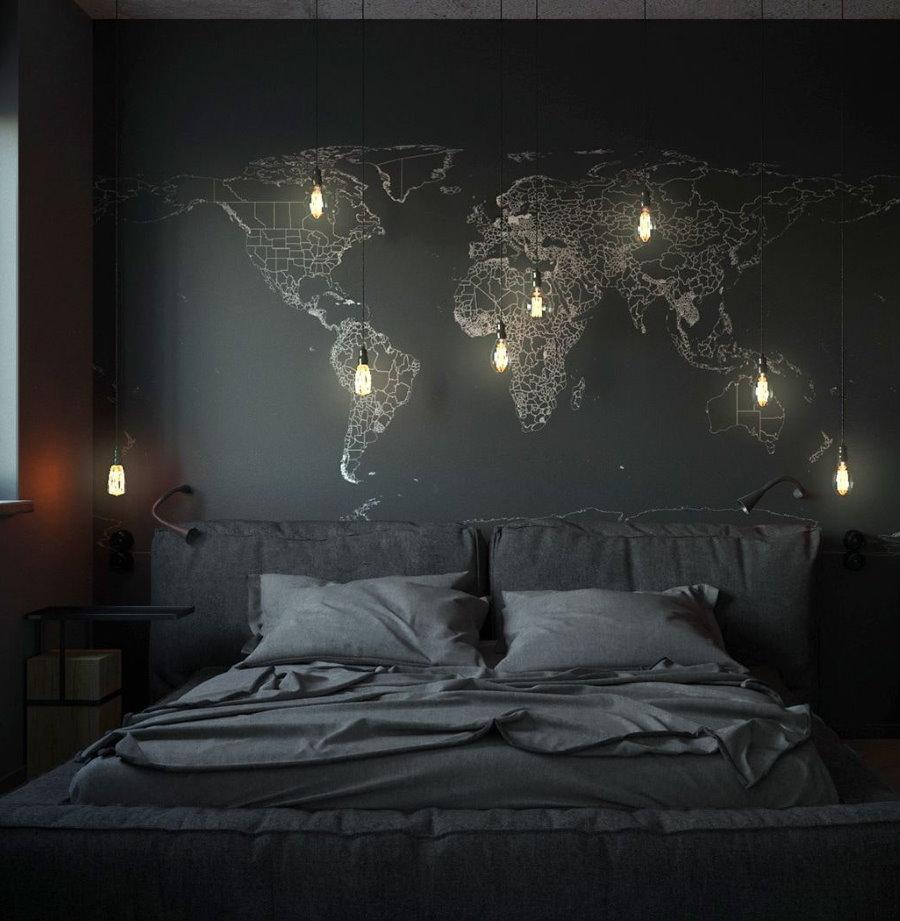 Декор спальни в оттенках черного цвета