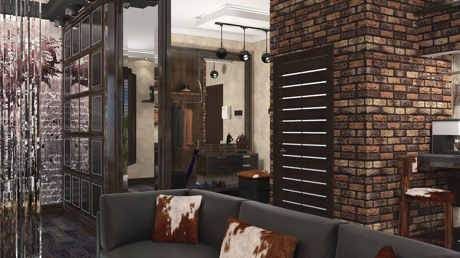 декоративный камень в интерьере прихожей в стиле лофт