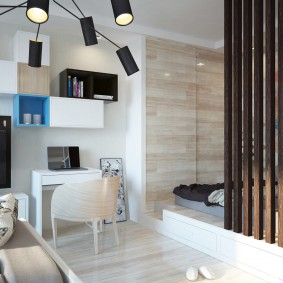 деревянные перегородки для зонирования дизайн