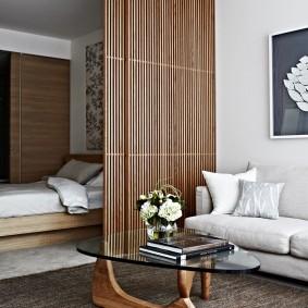 деревянные перегородки для зонирования фото декора