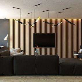 деревянные перегородки для зонирования фото интерьера