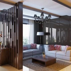 деревянные перегородки для зонирования идеи интерьера