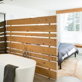 деревянные перегородки для зонирования оформление
