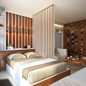 деревянные перегородки для зонирования дизайн идеи