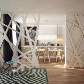 деревянные перегородки для зонирования идеи дизайн