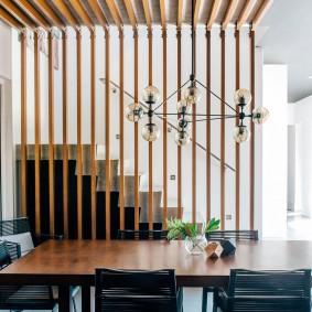деревянные перегородки для зонирования идеи дизайна