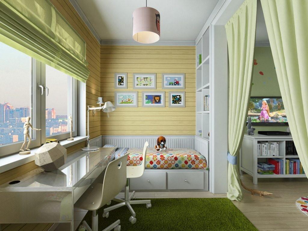 Интерьер лоджии после присоединения к гостиной комнате