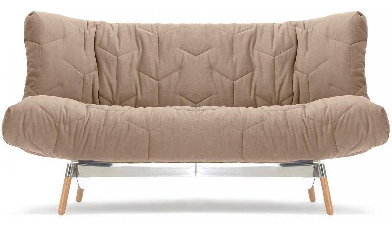 Однотонный диван клик-кляк на тонких ножках