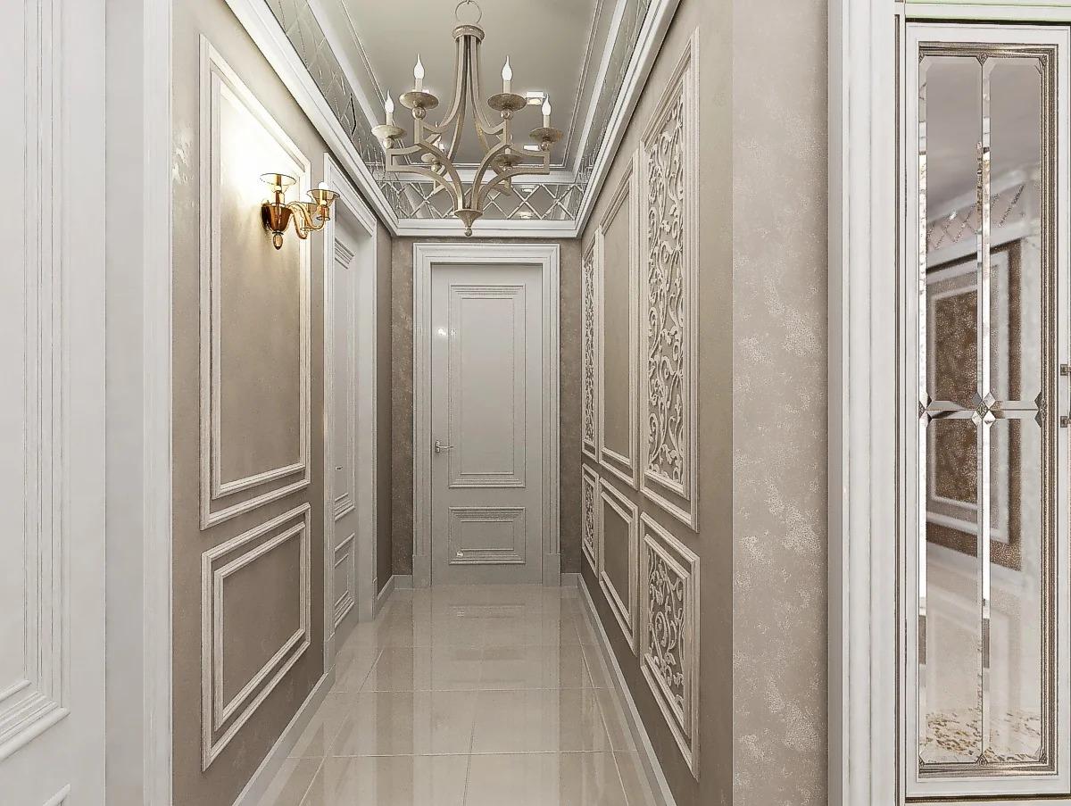 дизайн узкого коридора лепнина