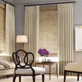 двойные шторы для зала идеи варианты