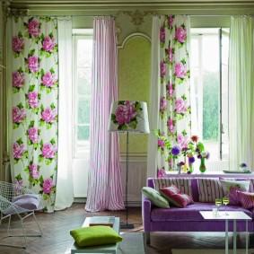 двойные шторы для зала идеи фото