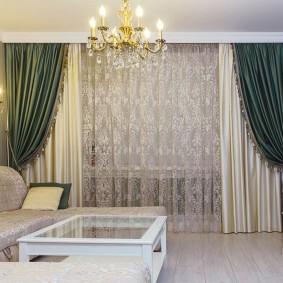 двойные шторы для зала интерьер фото