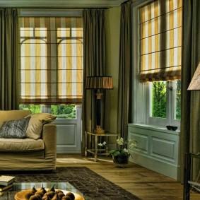 двойные шторы для зала фото интерьера