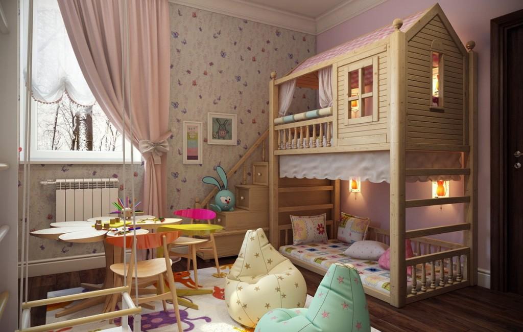 Двухъярусная кровать в форме домика в спальне девочек