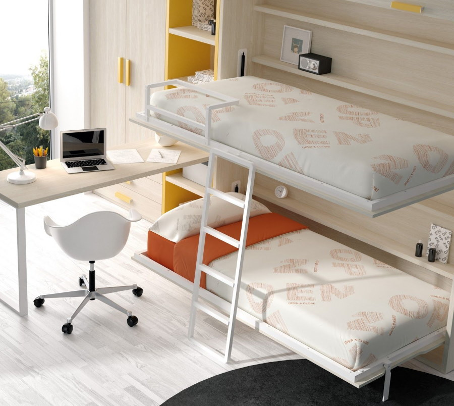 Детская комната с кроватью-трансформером для двоих