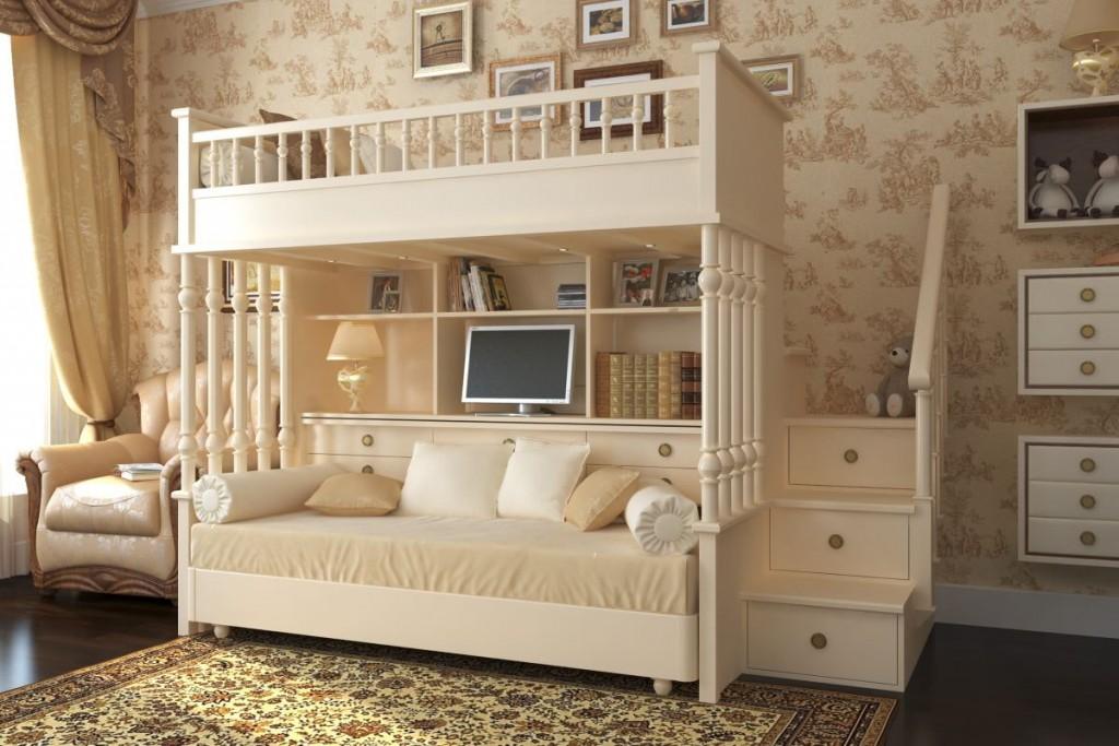 Деревянная детская кровать в стиле классика