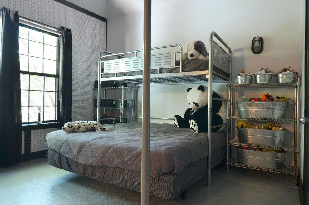 Интерьер лофтной детской с двухъярусной кроватью