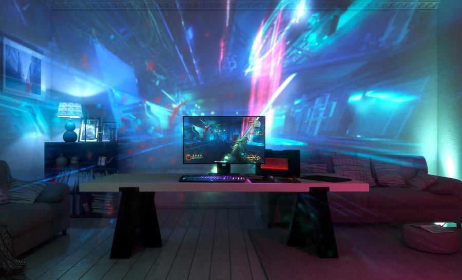 Проектор в современной комнате геймера