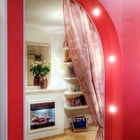 Встроенная подсветка красной арки