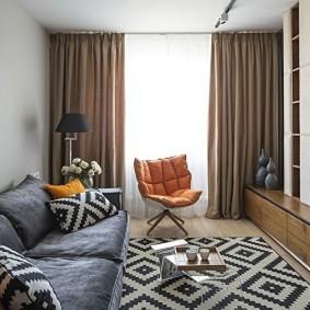 Стильный интерьер гостиной комнаты в хрущевке
