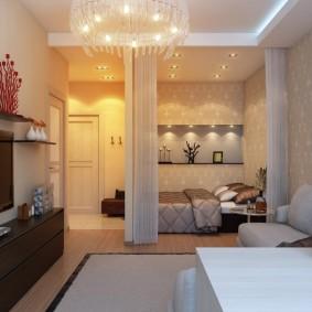 Светлая отделка стен в жилой комнате