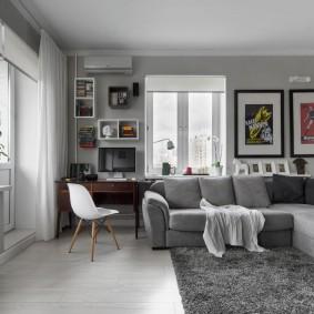 Угловая гостиная в оттенках серого цвета