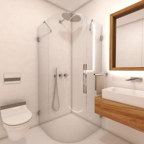 Угловой душ в совмещенной ванной комнате
