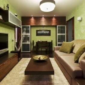 Светло-зеленые стены в интерьере квартиры